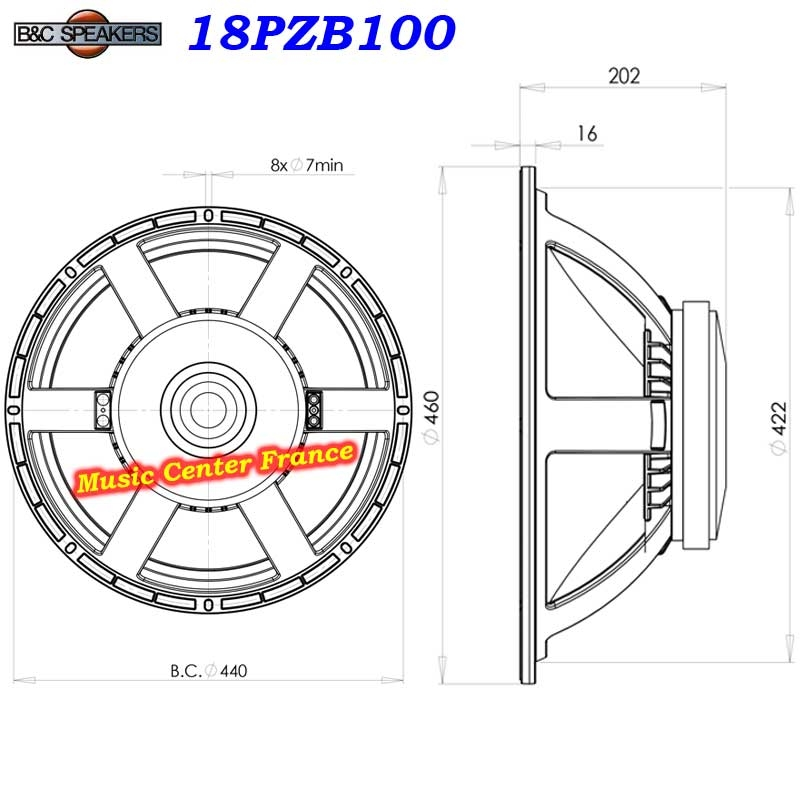 B&C Speakers 18PZB100 les dimensions