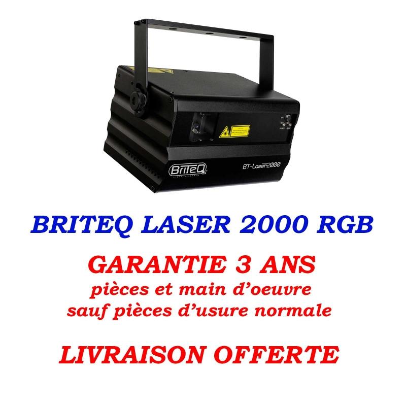 briteq laser 2000 rgb 2 w DMX ILDA garantie livraison