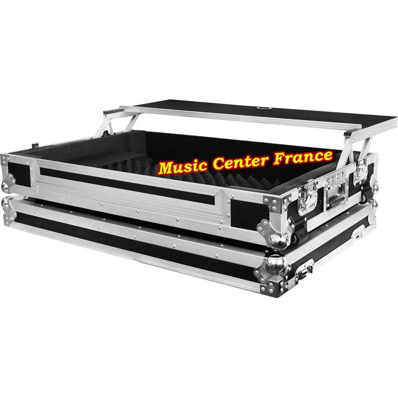 flightcase avec plateau PC mac Power Acoustics pour contrôleur numérique Pioneer XDJ-XZ vue droite avec plateau en arrière vu2