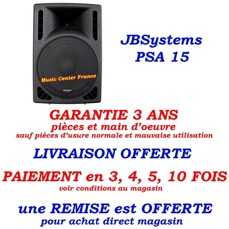 JBSystems JB Systems PSA15 PSA 15 enceinte amplifiée de 38 cm et d'une puissance de 300 w RMS totale - pas cher promo pub