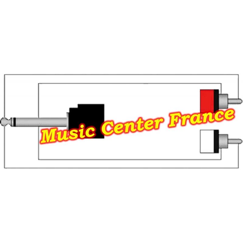 procab cab715 cab 715 cordon cable 1 x jack 6,35 male mono vers 2 rca males schema