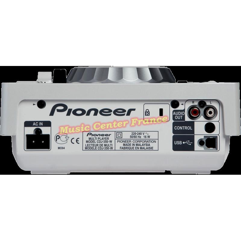 Pioneer CDJ350 CDJ350w CDJ 350 W white blanc blanche platine cd à plat vue arrière connectique