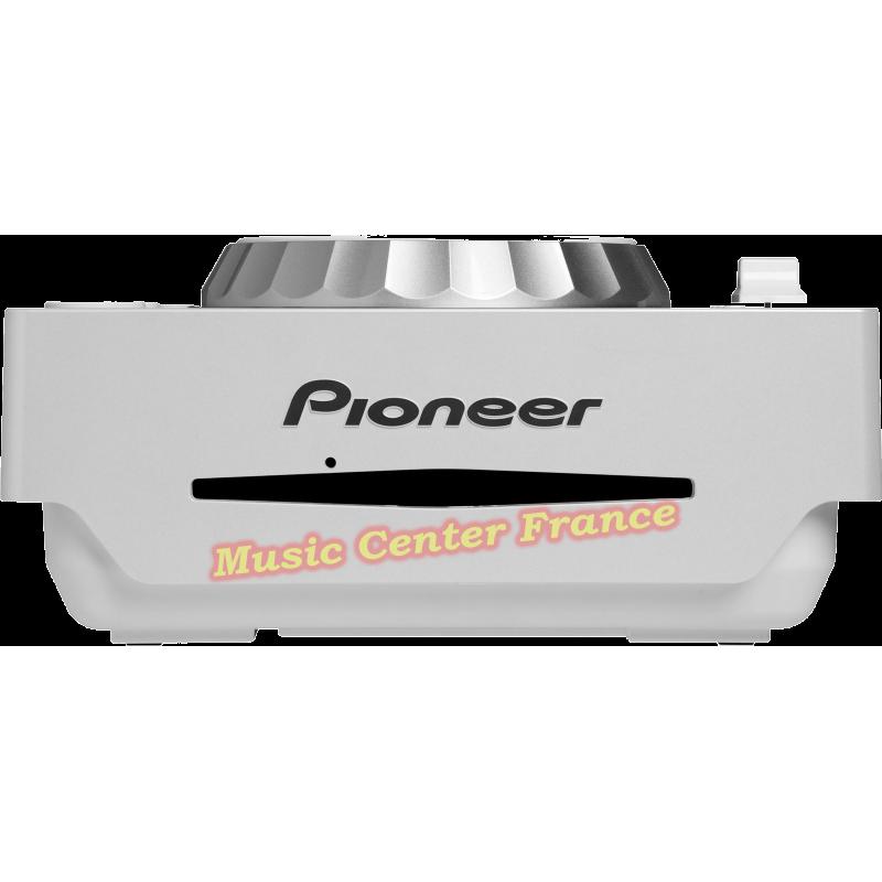 Pioneer CDJ350 CDJ350w CDJ 350 W white blanc blanche platine cd à plat vue face fente
