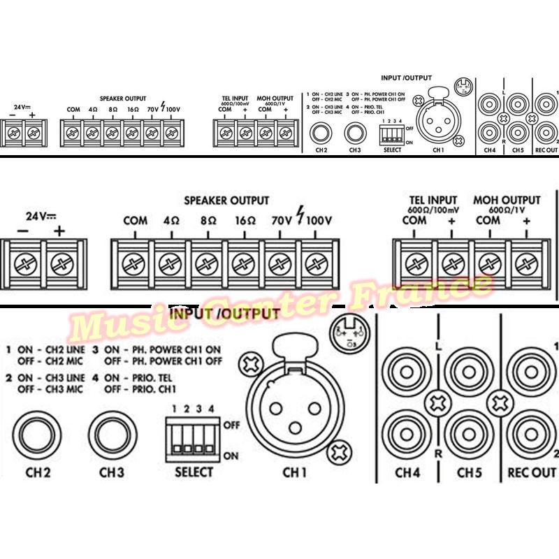 Monacor PA-803 DAP PA803 DAP PA 803 ampli amplificateur 100 v 30 w vue de la connectique