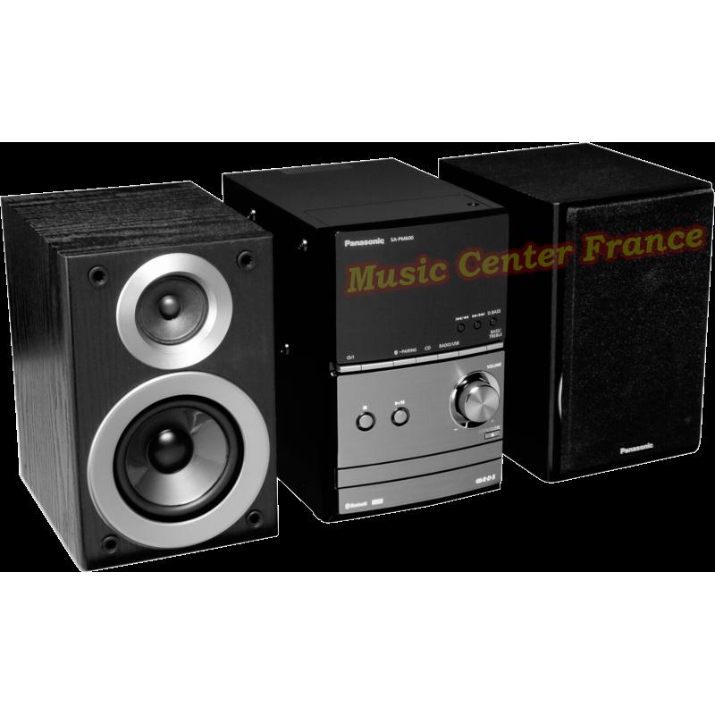 Panasonic SC-PM 600 mini-chaîne hi-fi avec CD, USB, tuner, bluetooth vue3 de gauche enceintes séparées