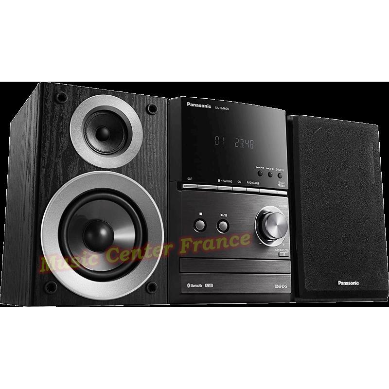 Panasonic SC-PM 600 mini-chaîne hi-fi avec CD, USB, tuner, bluetooth vue4 de gauche enceintes collées